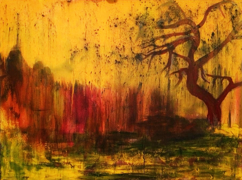 abstract yellow and gold willow tree painting