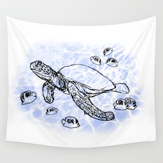sea turtle with fish tapestry