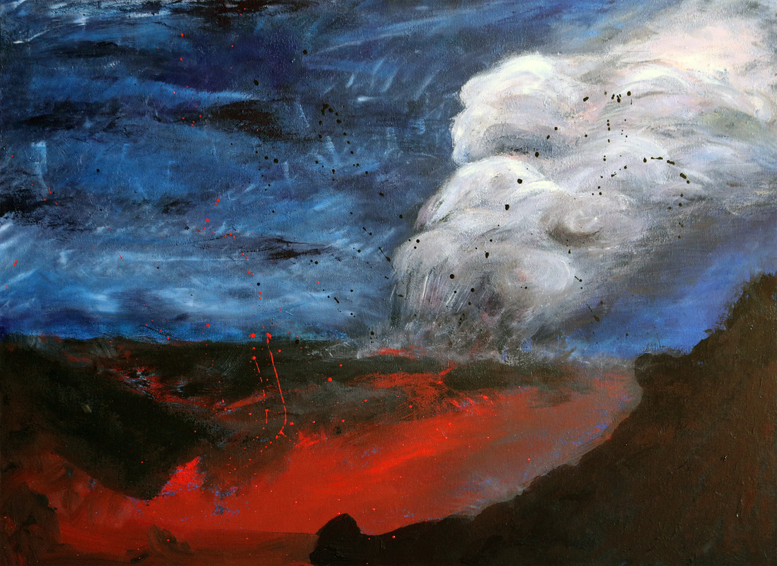 volcano eruption painting