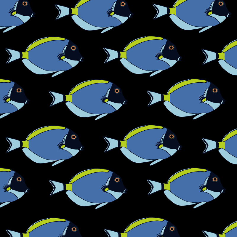 powder blue tang black pattern