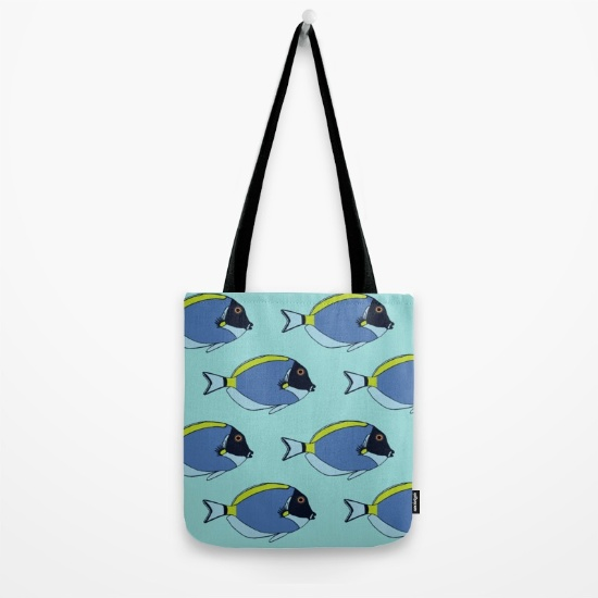 Poweder blue tang pattern tote